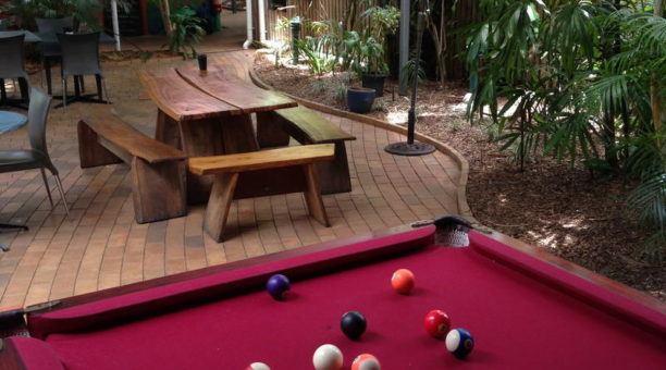 Backyard with pool table