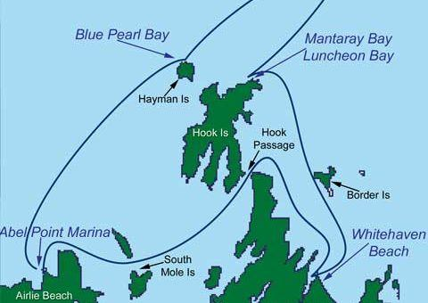 The route of the Sailing and Diving Whitsundays Trip
